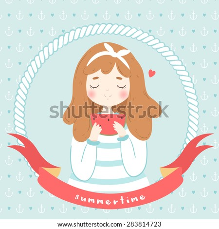 illustration of cute sailor girl with hair band and watermelon slice in hands on anchors and hearts background with summertime text message. can be used for greeting cards or party invitations - stock vector
