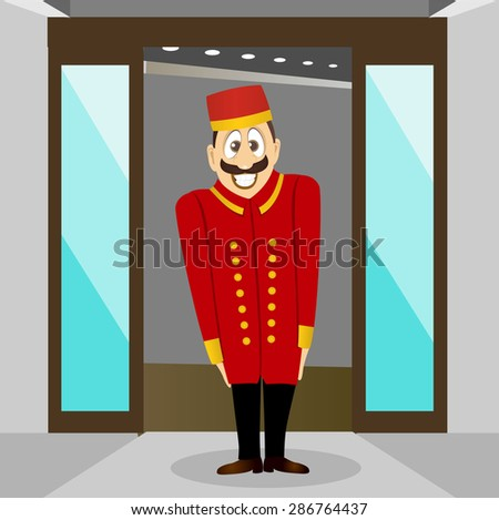 illustration of cute smiling bellhop with mustache waiting for the client - stock vector