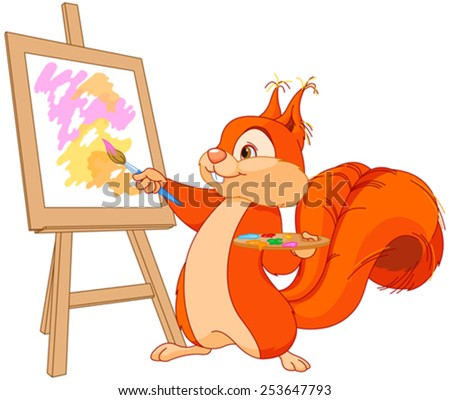 Illustration of cute squirrel draws a picture - stock vector