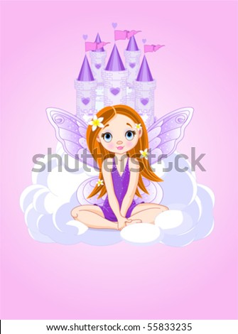 Illustration of cute violet little fairy a Fairy Tale Castle. All layers are separated - stock vector