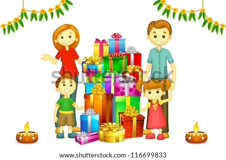 illustration of 3d happy family in vector with Diwali gift and Diya - stock vector