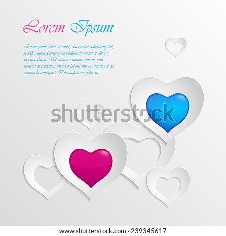 Illustration of 3d heart shaped cut out paper. Can be used as a symbol of love and health for greeting card design or for description of cardiac medicines - stock vector