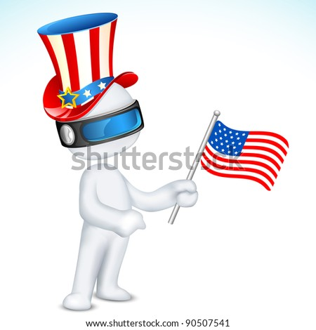 illustration of 3d man in fully scalable vector wearing hat holding american flag - stock vector