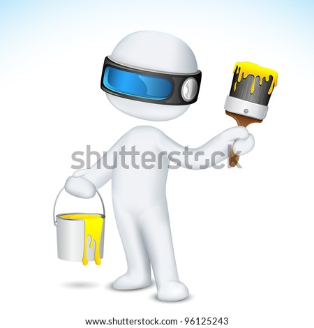 illustration of 3d man in scalable vector with paint bucket and paint brush - stock vector