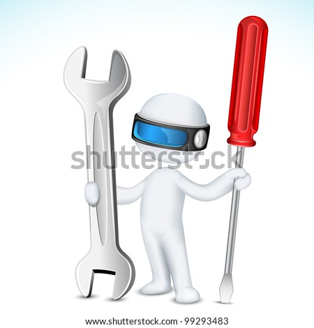 illustration of 3d man in vector fully scalable holding screw driver and wrench - stock vector