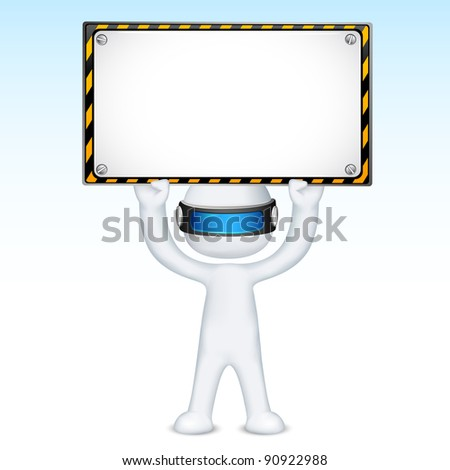 illustration of 3d man in vector fully scalable holding under construction signboard - stock vector