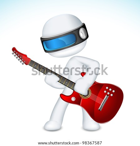 illustration of 3d man in vector fully scalable playing guitar - stock vector