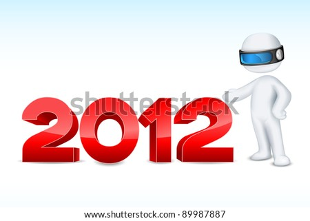 illustration of 3d man in vector fully scalable showing 2012 - stock vector