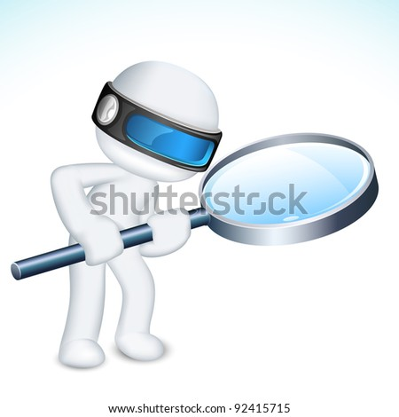 illustration of 3d man in vector fully scalable with magnifying lens - stock vector