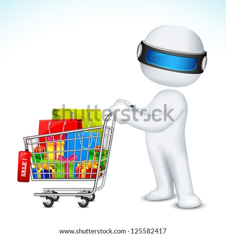 illustration of 3d man in vector fully scalable with shopping cart full of product - stock vector