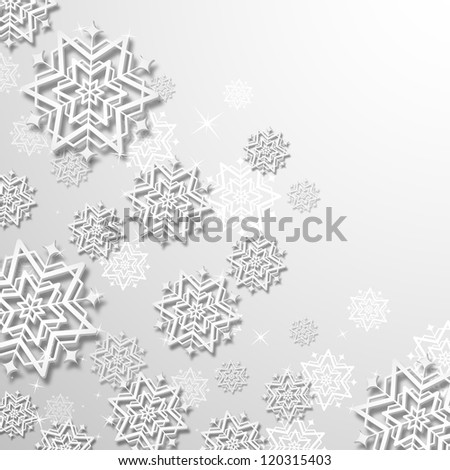 illustration of 3d snowflakes in Christmas background - stock vector