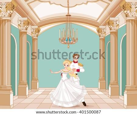 Illustration of dancing prince and princess   - stock vector