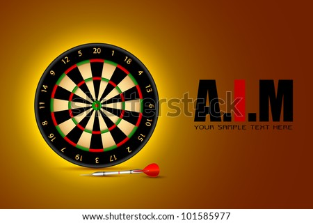 illustration of dart board on motivational AIM background - stock vector