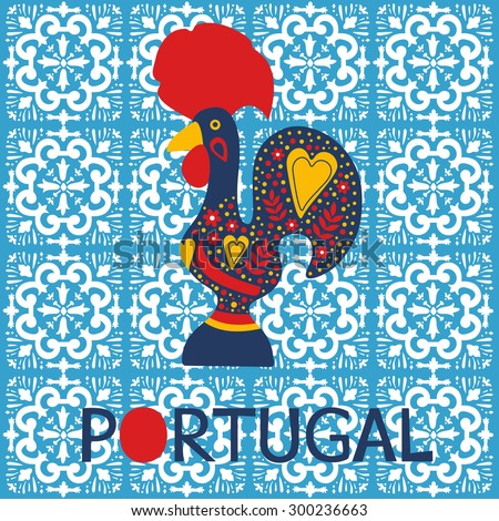 Illustration of decorated Barcelos rooster symbol of Portugal. Vector illustration - stock vector