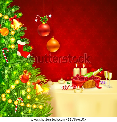 illustration of decorated Christmas tree with champagne glass - stock vector
