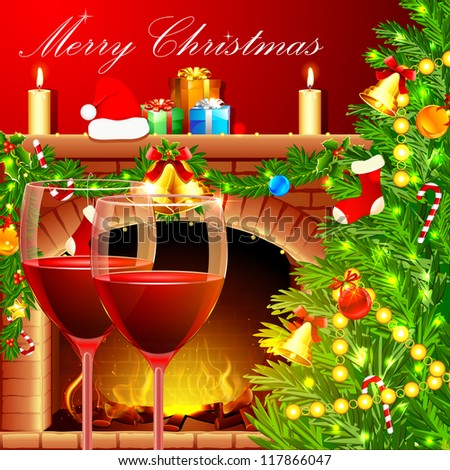 illustration of decorated Christmas tree with wine glass near fireplace - stock vector