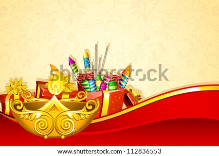 illustration of decorated diwali diya with fire cracker gift box - stock vector