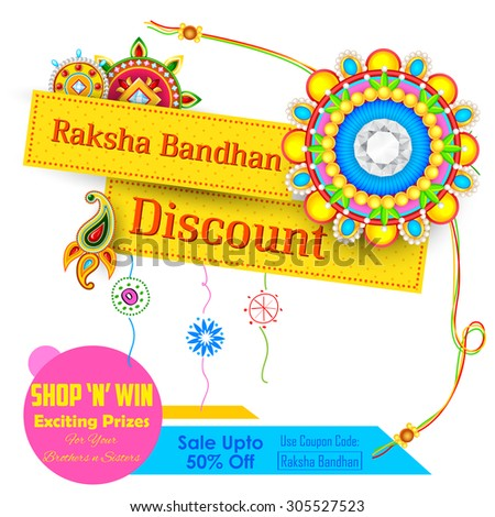 illustration of decorative rakhi for Raksha Bandhan sale promotion banner - stock vector