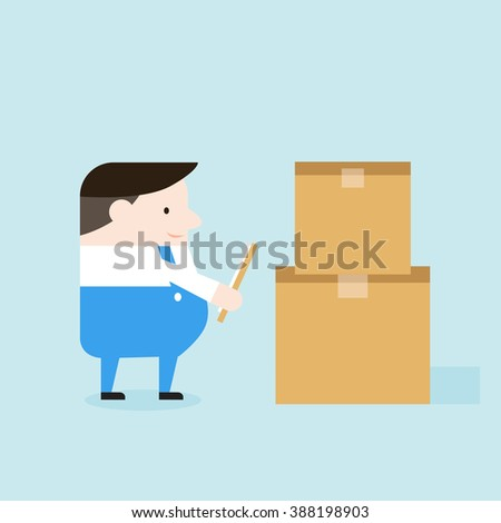 Illustration of delivery man checks boxes. Vector illustration flat style. - stock vector