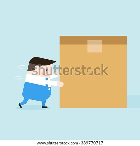 Illustration of delivery man try to push box. Vector illustration flat style. - stock vector