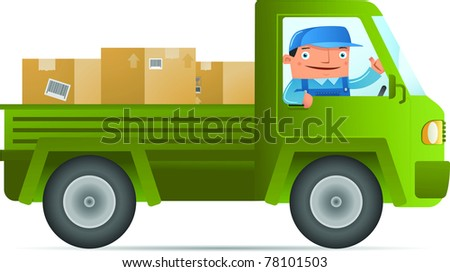 Illustration of Delivery service with car - stock vector