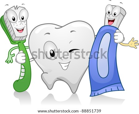 Illustration of Dental Products Hanging Together - stock vector