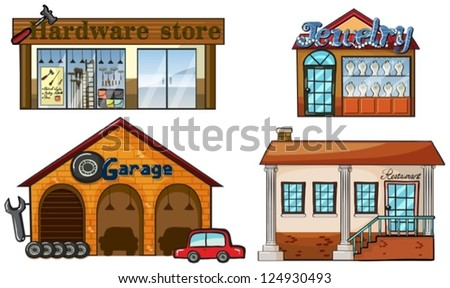 Illustration of different big stores on a white background - stock vector