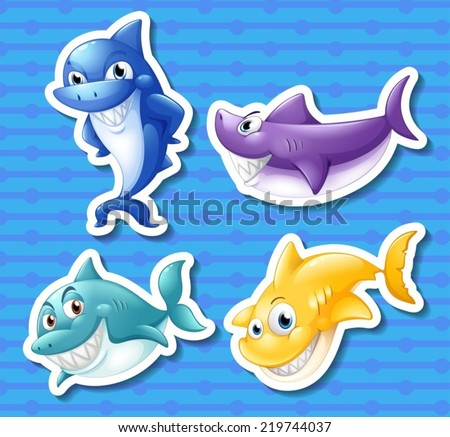 Illustration of different color sharks - stock vector