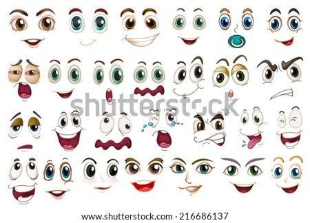 Illustration of different facial expressions - stock vector