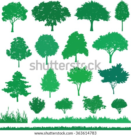 Illustration of different kind tree, shrub and grass. Icons set of nature - stock vector