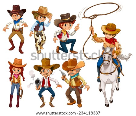 Illustration of different poses of cowboys - stock vector