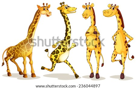 Illustration of different poses of giraffe - stock vector