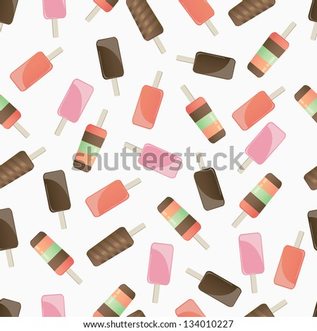 Illustration of different tasty colorful popsicles on white background - stock vector