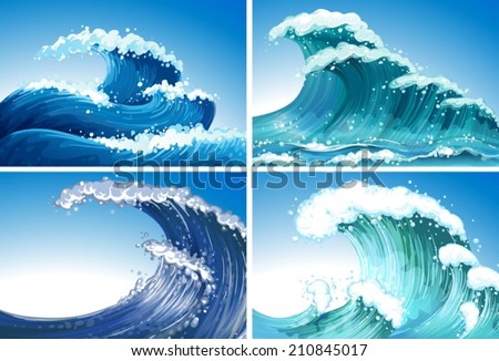 Illustration of different waves - stock vector
