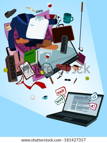 illustration of digital shop for men by laptop with various thing flew above - stock vector