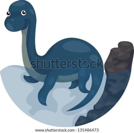 illustration of Dinosaur swimming - stock vector