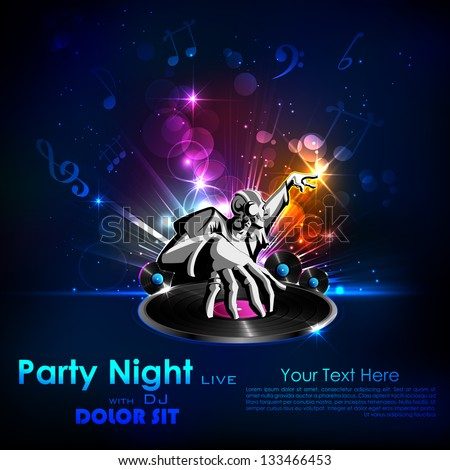 illustration of disco jockey playing music on abstract background - stock vector