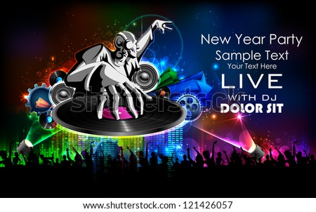 illustration of disco jockey playing music on New Year party - stock vector