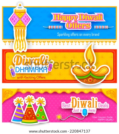 illustration of Diwali banner for promotion and advertisement - stock vector