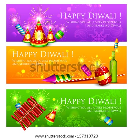 illustration of Diwali banner with colorful firecracker - stock vector