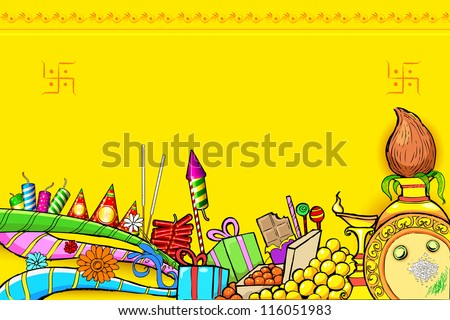 illustration of Diwali doodle with different object - stock vector