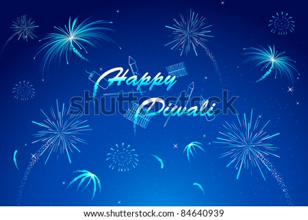 illustration of diwali wish with firework in night sky - stock vector