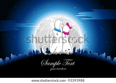 illustration of dog couple sitting in romantic night - stock vector