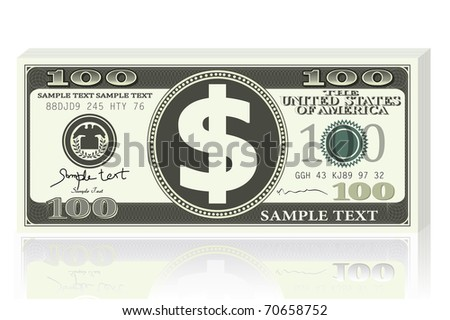 illustration of dollar note on white background - stock vector