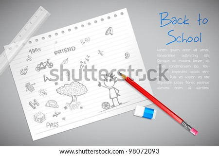 illustration of doodle on paper with pencil and eraser - stock vector