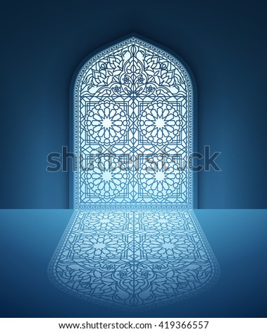 Illustration of doors of mosque, geometric pattern, background for ramadan kareem greeting cards, EPS 10 contains transparency.  - stock vector