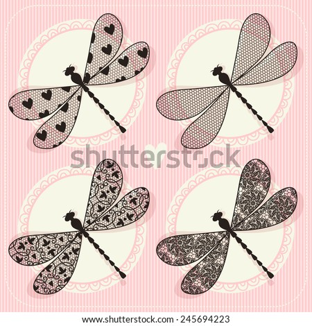Illustration of dragonfly. Vintage lace. Set - stock vector