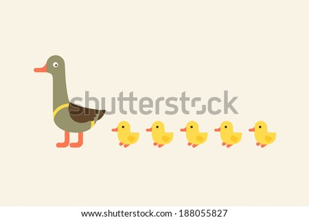 Illustration of duck with ducklings. - stock vector