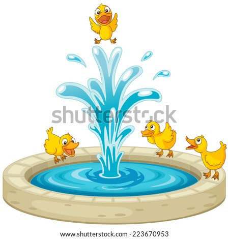 Illustration of ducks and fountain - stock vector