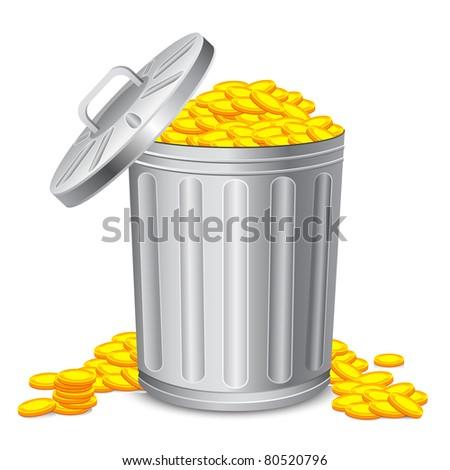 illustration of dustbin full of gold coin - stock vector
